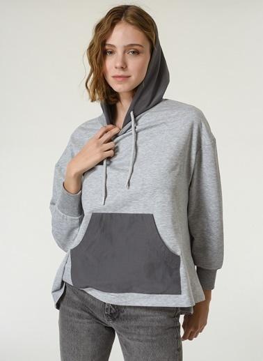 NGSTYLE Kapüşonlu Oversize Sweatshirt Gri
